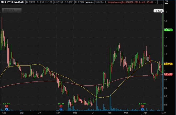 Penny_Stocks_to_Watch_Reed's Inc. (REED Stock Chart)